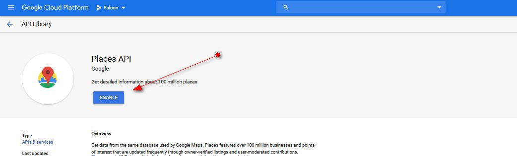 Enable API Google