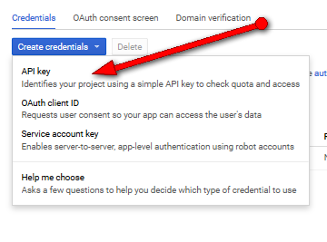 Google API credentials setup