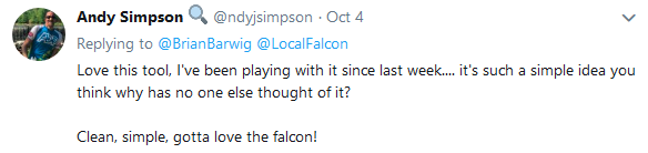 Twitter Feedback - Andy Simpson Local Falcon