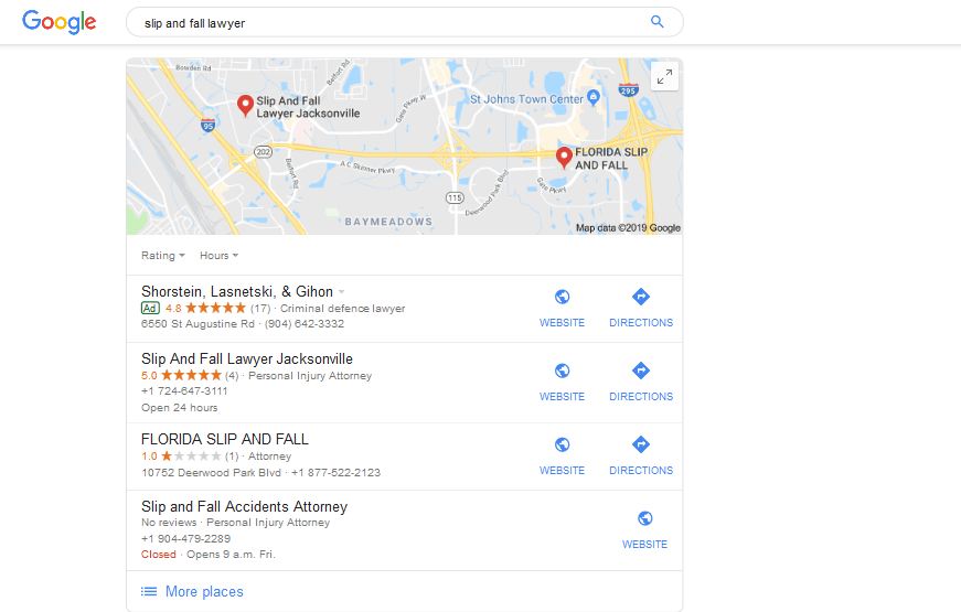 Google Search Results for Local Lawyers