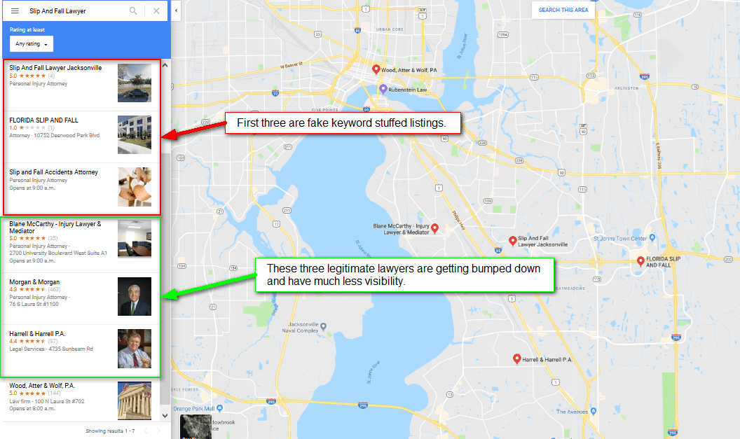 Detailed local SERP Results with spam listings